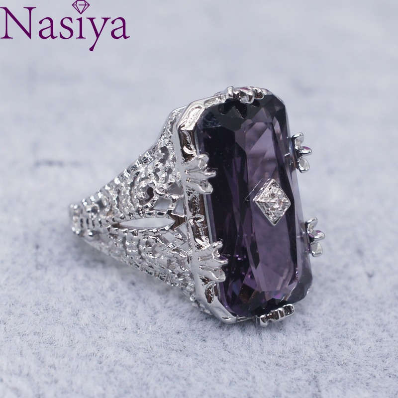 925 Silver Ring Chamfer Rectangular Amethyst Princess Gemstone Ring Hollow Flower Female Ring Jewelry For Women