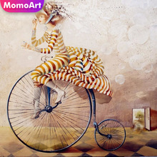 MomoArt Diamond Painting Sexy Woman Of Bicycle Cross Stitch Full Square Embroidery Portrait Home Decoration