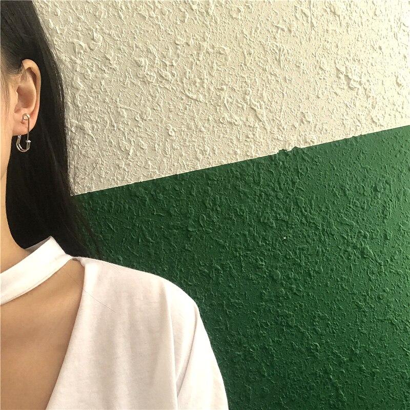 Trendy Unisex Punk Rock Style Safety Pin Ear Hook Stud Earrings Exquisite Jewelry Gift for Women Men