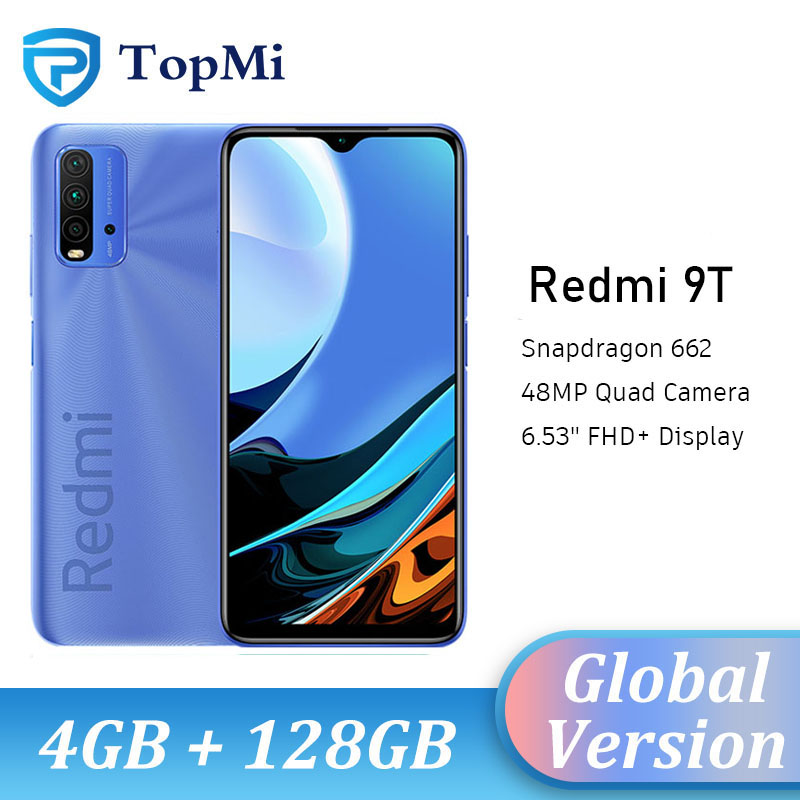 Глобальная версия Xiaomi Redmi 9 T-9 T, 4GB оперативной памяти, 64 Гб встроенной памяти/128GB ROM мобильный телефон Snapdragon 662 Octa Core 6,53