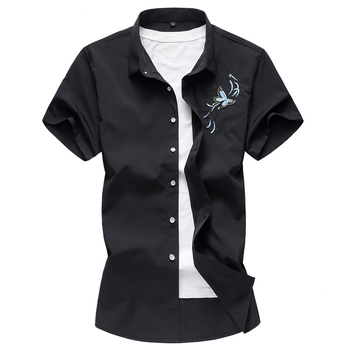 plus size 7xl good quality butterfly embroidery short sleeve casual shirts male 2020 summer new cotton shirts men designer new arrival colorful printed shirt men brand good quality short sleeve casual dress shirts plus size