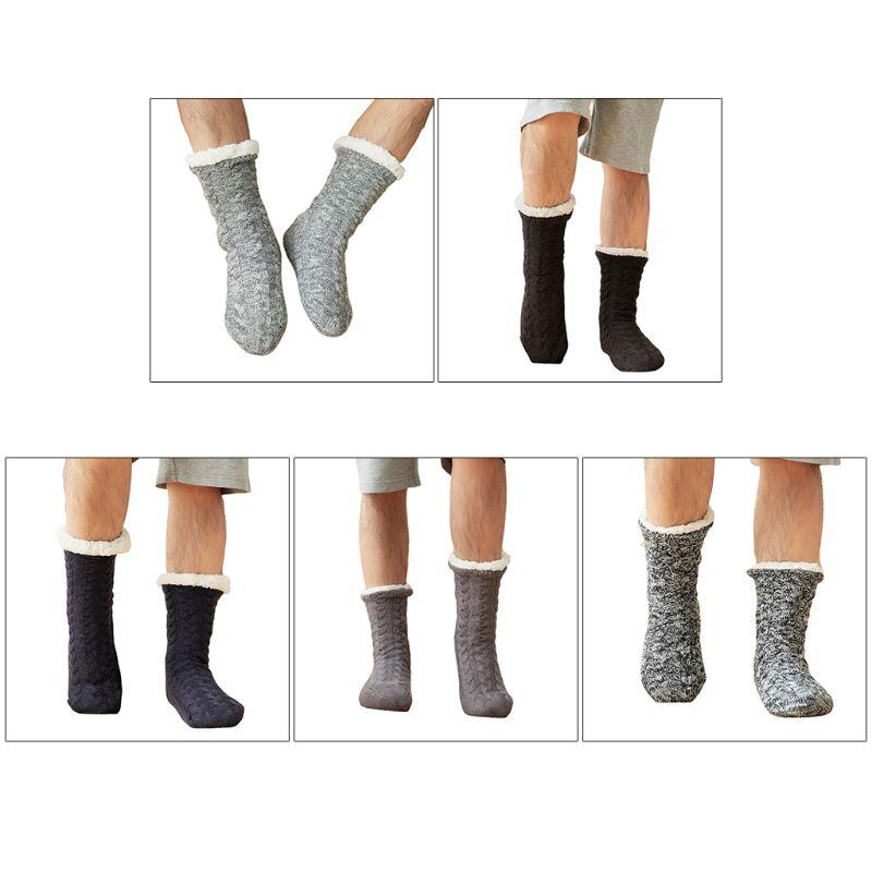 Men Winter Warm Fuzzy Slipper Socks Twist Cable Knit Solid Plush Lined Hosiery
