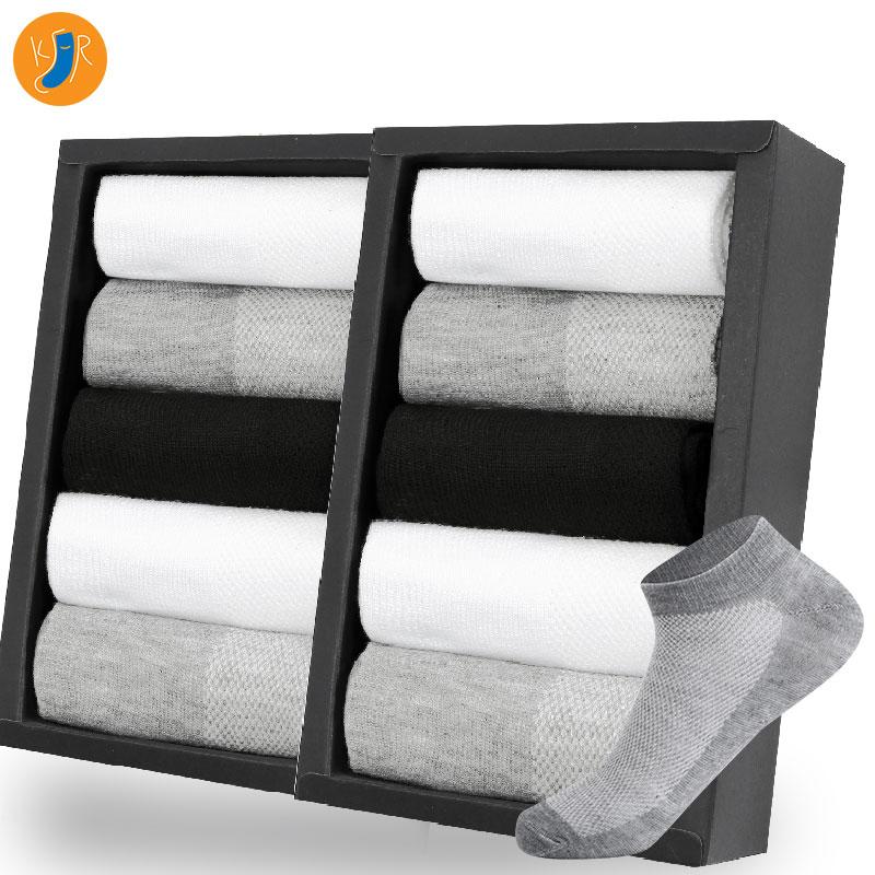 10pairs Men Socks Lot Invisible Ankle Socks Short Winter Black Gray Breathable Thin Cotton Socks Men Size EUR 38-42 (US6.5-11)