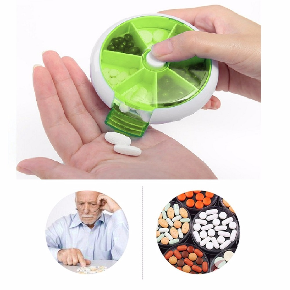 Medicine Pill Box First Aid Kits Automatic Rotary Round Shape Compact 7Days Weekly Travel Medicine Tablet Storage Case Container