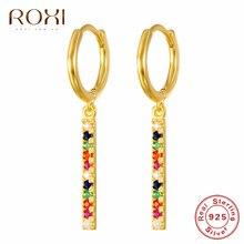 ROXI Simple Design 925 en argent Sterling longue barre boucles d'oreilles or arc-en-ciel CZ Huggie bijoux femme pas cher boucles d'oreilles coréen Brincos