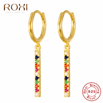 ROXI Simple Design 925 Sterling Silver Long Bar Earrings Gold Rainbow CZ Huggie Jewelry Woman Cheap.jpg 350x350 - ROXI Simple Design 925 Sterling Silver Long Bar Earrings Gold Rainbow CZ Huggie Jewelry Woman Cheap Stud Earrings Korean Brincos