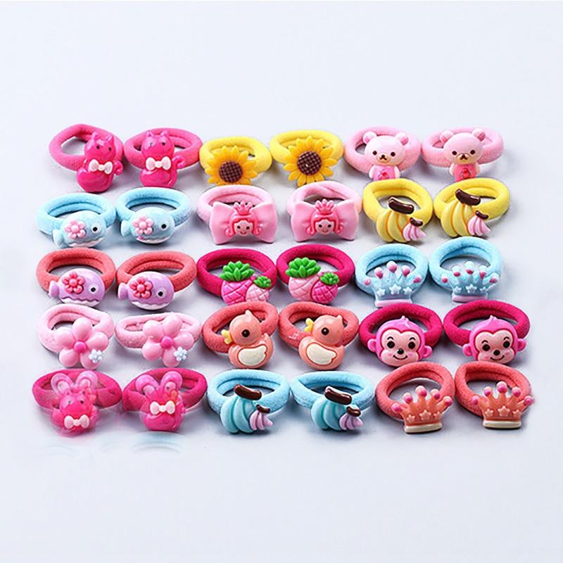 Children Elastic Hair Band Candy Color 10pcs Cute Headbands Ropes Girls Headwear