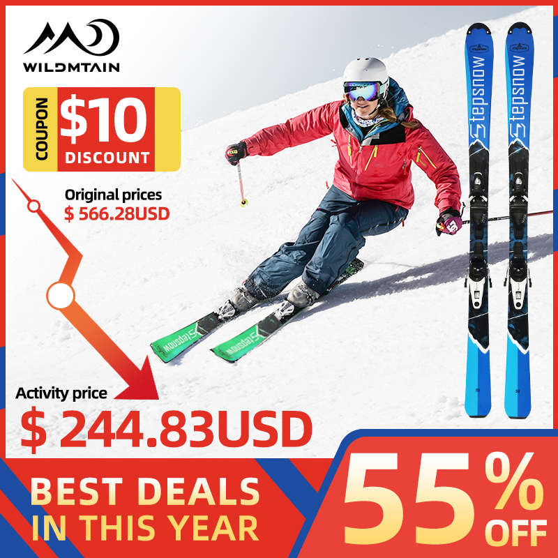 WILDMTAIN Snowboards Skis Intermediate To Pro With Ski Bindings Optional, 110cm To 140cm Length, Men Women Easy Steering Skis