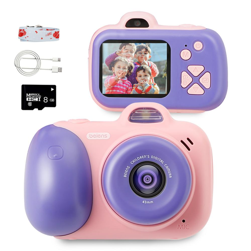 Beiens Kids Camera Digital Toy Children 800W Pixel Toddler Toys Camera 2inch IPS Screen Educational Toys Christmas Gifts