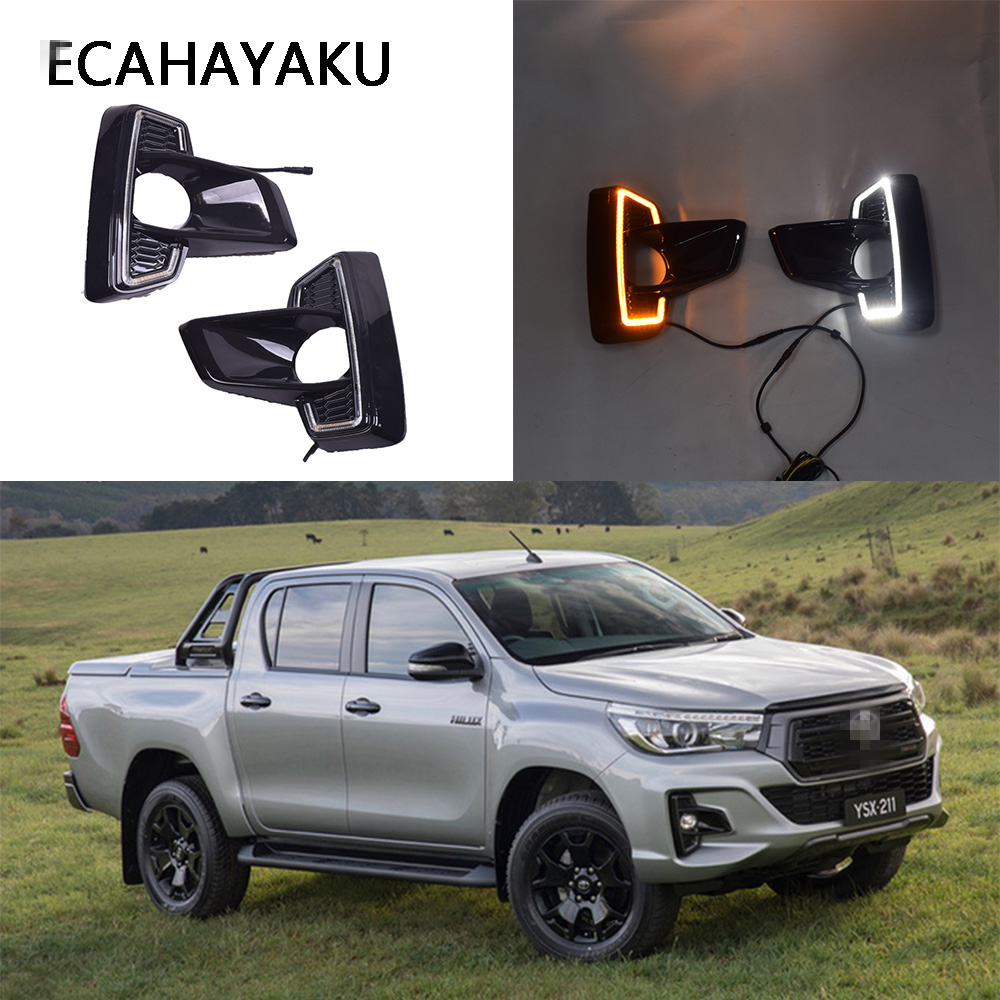 For Toyota Hilux Rocco 2018 DRL LED DAYTIME RUNNING LIGHT FOG LAMP W TURN SIGNAL