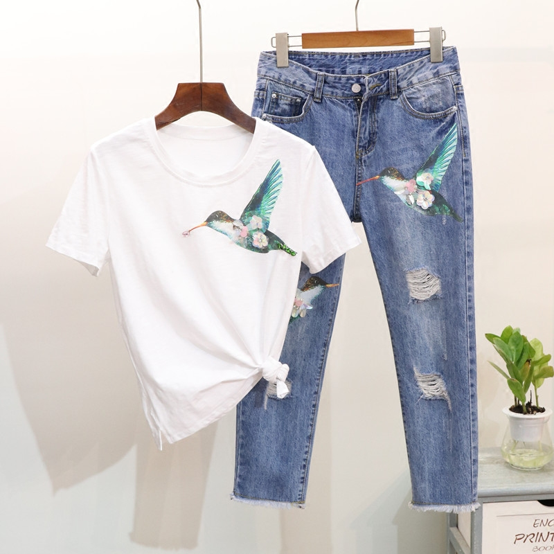 Summer New Women Sequins Bird Print Short Sleeve T-shirt + Hole Denim Pants Two Piece Set Fashion Jeans Pants + Tee Female Suit