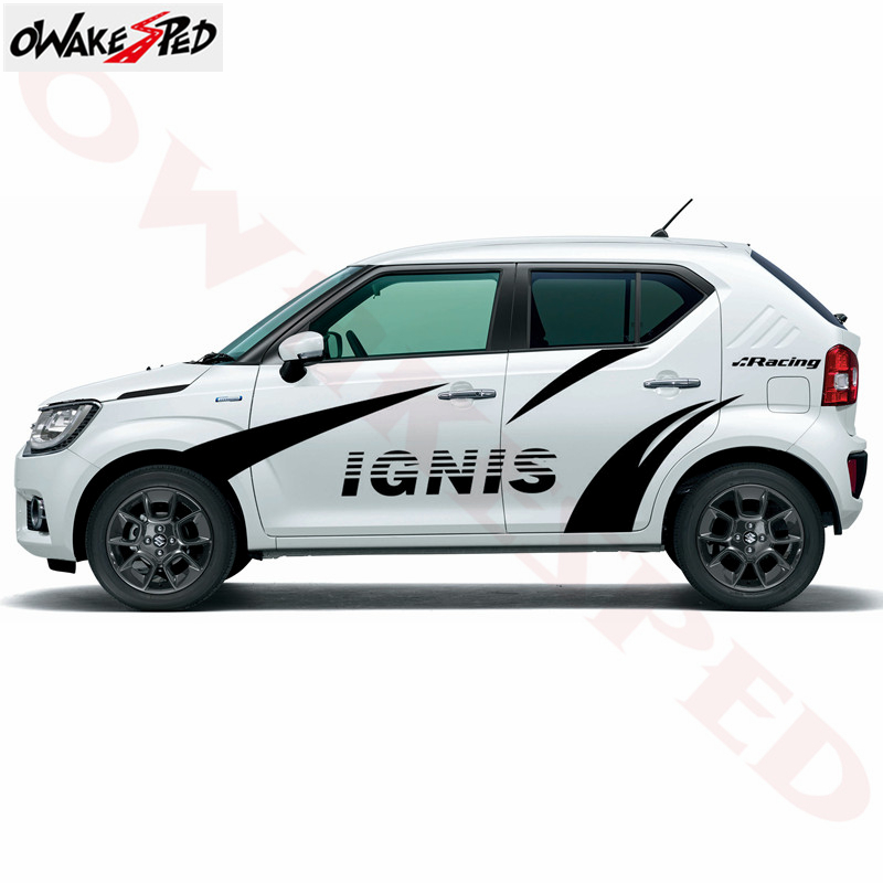 Car Styling Racing Sport Stripes Stickers Auto Door Both Side Decor Decals Vinyl Body Accessories Sticker For Suzuki Ignis