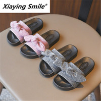 Xiaying Smile Spot Children's Slippers Spring and Summer 2019 New Girl Soft Bottom Anti skid The little girl dried her indoor