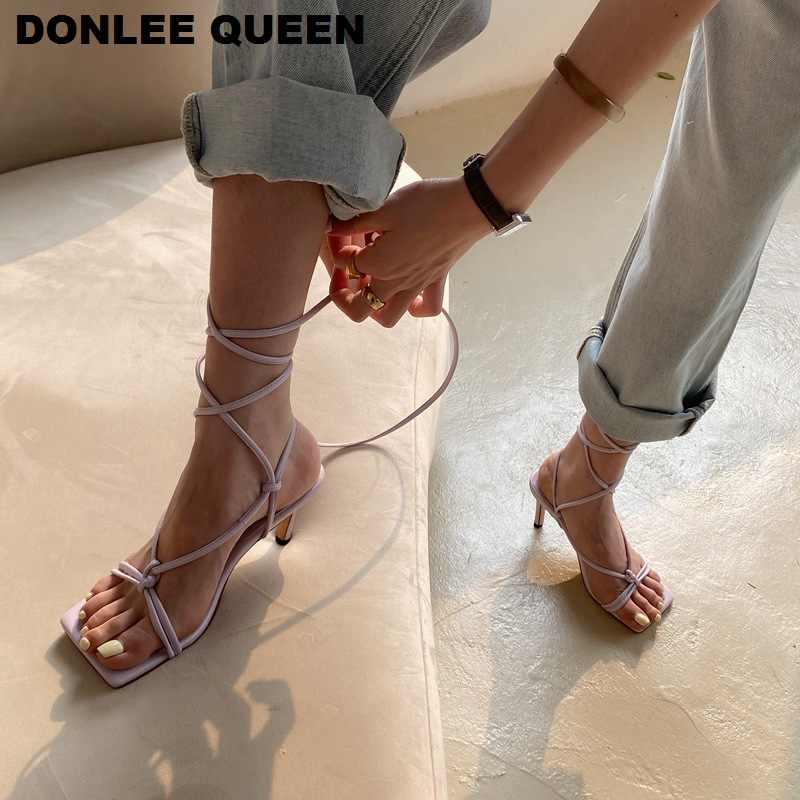 Women Sandals High Heels Lace Up