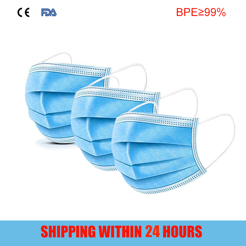 3 Layer Disposable Face--mouth-Mask Protection Non-Sterile Mask Respirator Dustproof Facial Protective Cover Masks