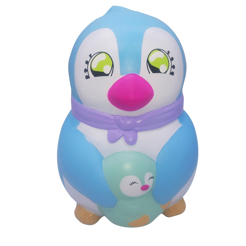 New Huge Adorable Penguin Mother And Child Slow Rising Kids Fun Stress Reliever Toy Play Around Cartoon Squeeze Toy L102