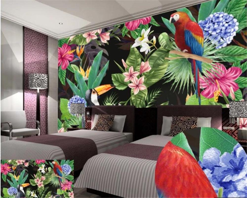 Beibehang Custom Wallpaper HD Rainforest Parrot Leaves Background Wall Living Room Bedroom Sofa TV Mural Wallpaper For Walls 3 D