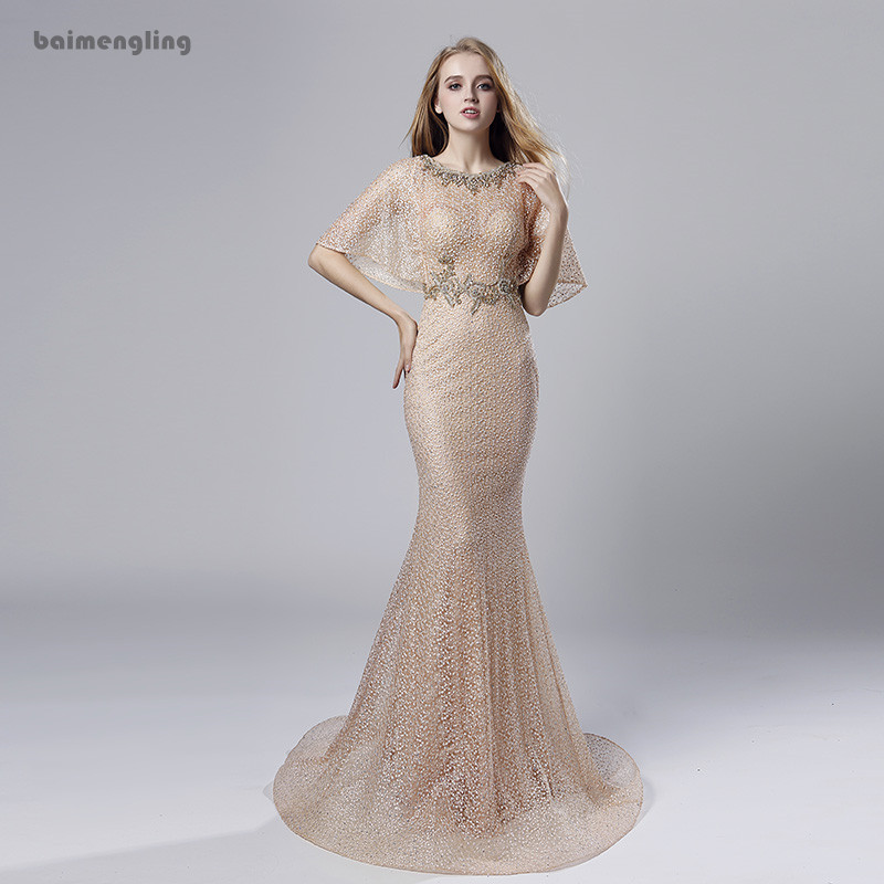 champagne evening dress, formal mermaid short sleeves long dress