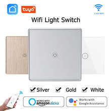 Wifi Smart Wall Touch Switch EU 1 Gang Glass Panel APP Remote Control Work with Google Home and Amazon Alexa for Smart Life tuya