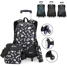 Men Trolley School Bag Luggage Book Bags For Teenagers Men Floral Teen Backpack Latest Removable Men's Travel Bags 2/6 Wheel цена 2017