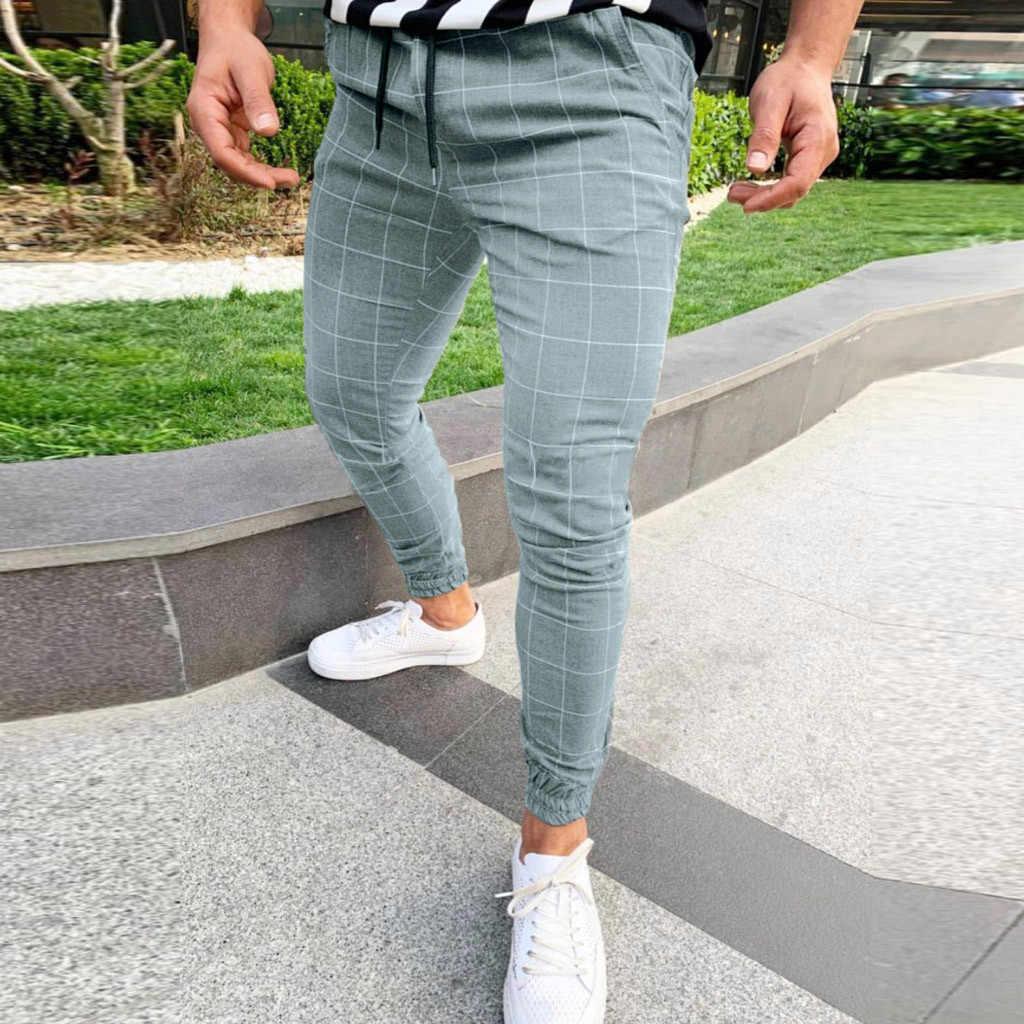メンズパンツファッションチェック柄ストリートヒップホップパンツスキニーチノパンパンツスリムフィットカジュアルパンツジョギングd #