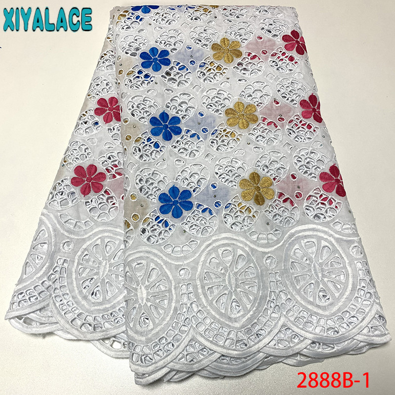 White Swiss Voile Lace In Switzerland 2019 High Quality African Wedding Lace Fabric Cotton Lace Hollow Out KS2888B-1