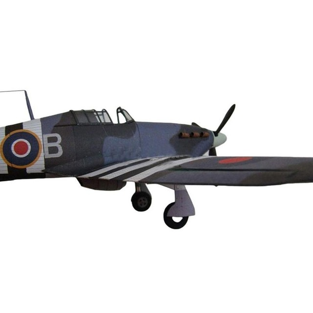 1:33 British Hurricane Fighter DIY 3D Paper Card Model Military Educational Sets Construction Model Building Toys Toys C7I9 3
