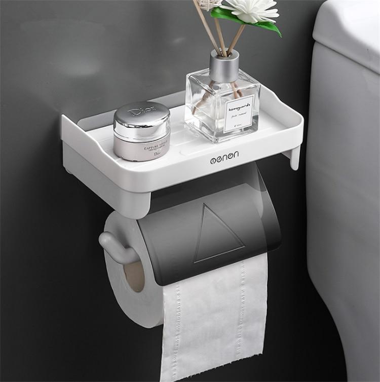 Wall Mount Roll Paper Storage Rack Multi-function Toilet Paper Holder Rack Bathroom Rack Shelves 3 Colors 1
