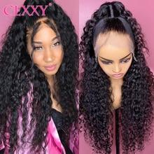 Cexxy 30 Cal malezyjski głęboka fala 13X4 koronki przodu włosów ludzkich peruk woda fala peruka z krótkim bobem wstępnie oskubane Hairline z dzieckiem włosy