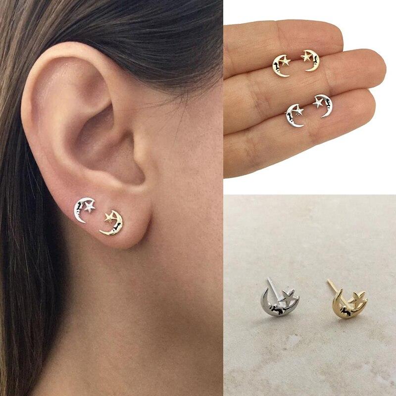 Punk Moon star Stud Earrings Minimalist Geometric Shape 925 Sterling Silver For Women Birthday Party Jewelry Gift A30
