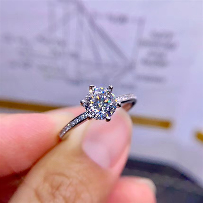 Glittering Moissanite Gemstone Simple Diamond Ring for Women Real 925 Sterling Silver Charm Fine Wedding Jewelry