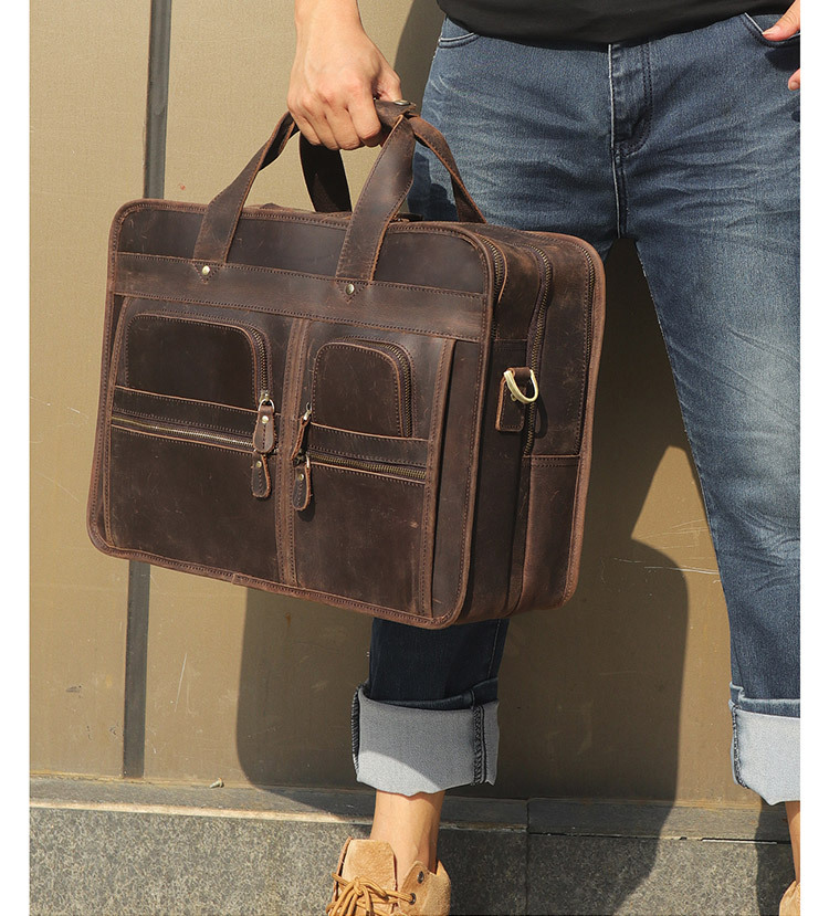 H45e034077f234e64a06e3ea4b5e3659ao MAHEU Vintage Leather Mens Briefcase With Pockets Cowhide Bag On Business Suitcase Crazy Horse Leather Laptop Bags 2019 Design
