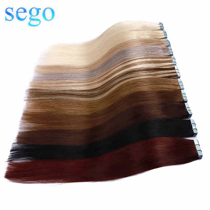 "SEGO 14""-24"" 3g/pc 100% Real Human Hair Band Extensions Adhesive Seamless Non-Remy Skin Weft Tape in Hair Extension 20pcs"