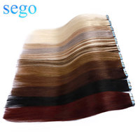 SEGO 14 24 3g/pc 100% Real Human Hair Band Extensions Adhesive Seamless Non Remy Skin Weft Tape in Hair Extension 20pcs