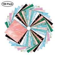 100 шт., квадратная бумага для оригами, односторонняя, с мраморным узором, бронзовая, цветная, сделай сам, детская, сложенная бумага, скрапбуки...