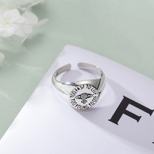 Vintage Solid S925 Silver Open Rings Circle Shape Planet Letter TOO FAST TO LIVE TOO YOUNG TO DIE Adjustable Rings For Female блокнот too fast to live черный крафт