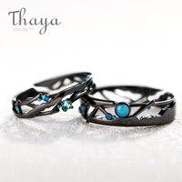 Thaya CZ Млечный путь, черные кольца, синие яркие кольца с кубическим цирконием, 925 серебряные ювелирные изделия для женщин, для влюбленных, винт...