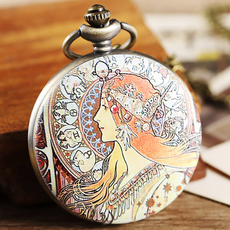 Greece Goddess Pocket Watch Fob Chain Necklace Men Flip Open Face Watch Goddess Quartz Clock For Men Women Reloj De Bolsillo