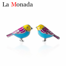High Quality 100% 925 Sterling Silver Animal Jewelry Cute Color Birds Stud Earrings For Women Daughter Baby Girls Gift