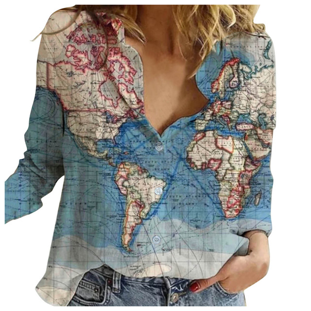 World Map Printed Women Blouse Fashion Lapel Button Shirts Long Sleeve Loose Casual Streetwear Blouses Tops Рубашка Женская 1