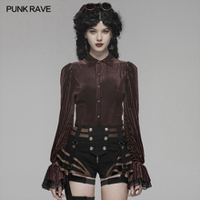 PUNK RAVE Women's Gothic Dark-Grain Velvet Elastic Long Sleeve Fashion Women Shirt Party Club Women Tops Shirts Blouse