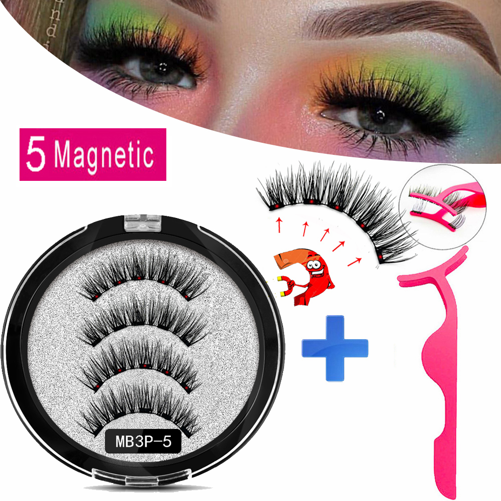 MB1P-6P New 2 Pairs 5 Magnetic Eyelashes Faux Cils Magnetique Natural False Lashes Thick Mink Eyelashes With 3D Magnet Round Box