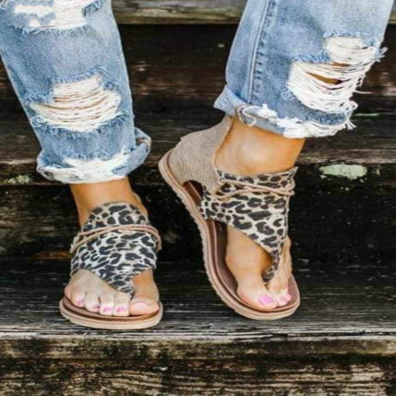 Summer 2019 New Fashion Flat-soled Sandals Snake-print Large Size Women/'s Shoes