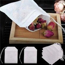 100 шт чайных пакетиков для чайных пакетиков, заварных пакетиков со струнным заживающим уплотнением 5x7 см, пакетики для чая, бумажные пакетик...