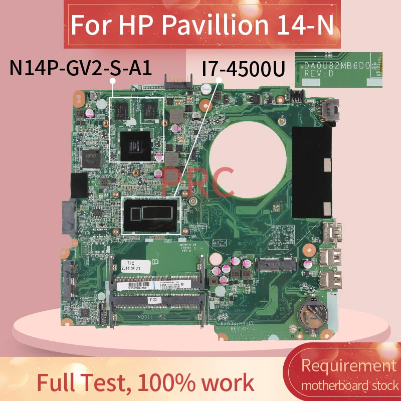 For Hp Pavillion 14 N I7 4500u 14 Inch Notebook Mainboard Da0u82mb6d0 Sr16z N14p Gv2 S A1 Ddr3 Laptop Motherboard Laptop Motherboard Aliexpress