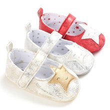 0-18M Infant Little Girls Princess Sequin Stars Leather Shoes Newborn Baby Girl Flower Sneakers Toddler Cotton Bow Casual Shoes(China)