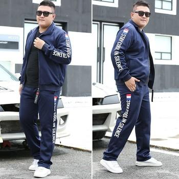 2020 męskie zestawy do biegania jesień odzież sportowa 140KG Sport garnitur bluza spodnie dresowe męskie odzież 2 sztuk zestawy Jogging dres tanie i dobre opinie ECTIC CN (pochodzenie) MANDARIN COLLAR zipper Pasuje prawda na wymiar weź swój normalny rozmiar Poliester Lycra Elastan