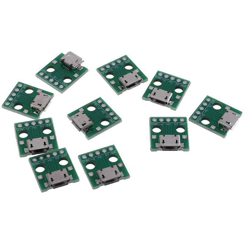 10Pcs Micro USB To DIP Adapter 5Pin Female Connectors PCB Converter Board Dropshipping