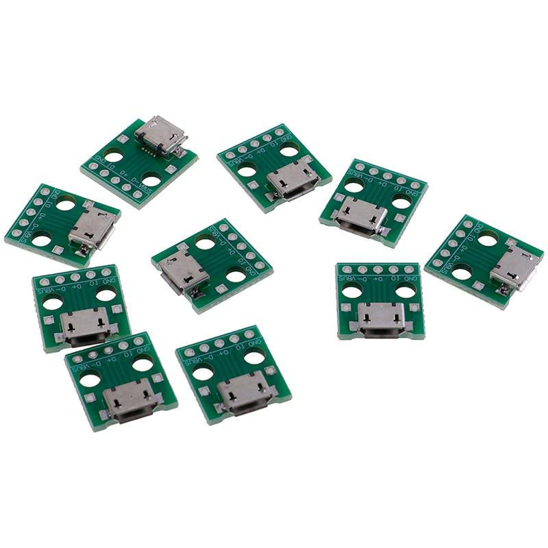 10Pcs Micro USB To DIP Adapter 5Pin Female Connectors PCB Converter Board Dropshipping