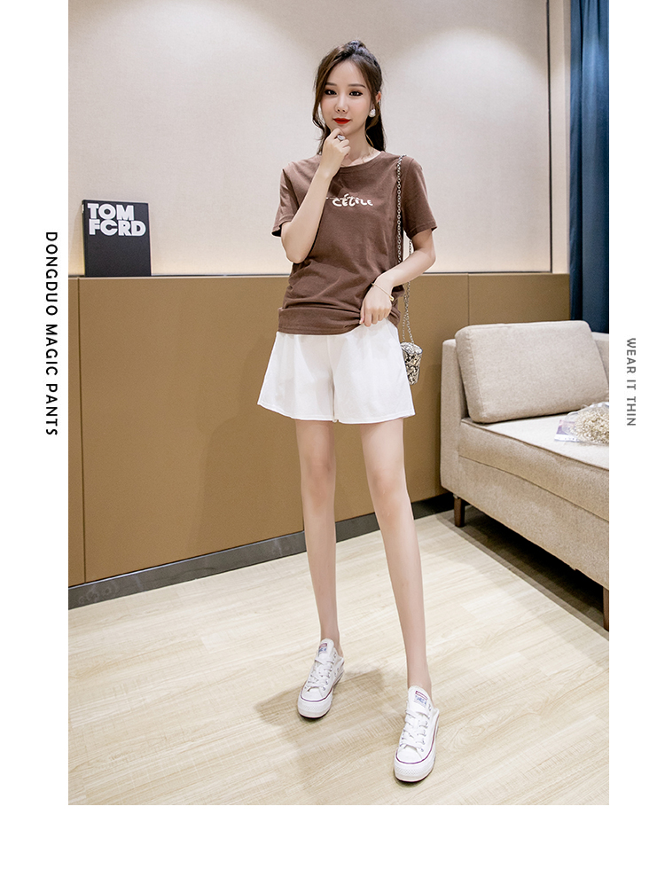 6006# Summer Thin Cotton Linen Maternity Shorts Wide Leg Loose Adjustable Belly Shorts for Pregnant Women Casual Pregnancy